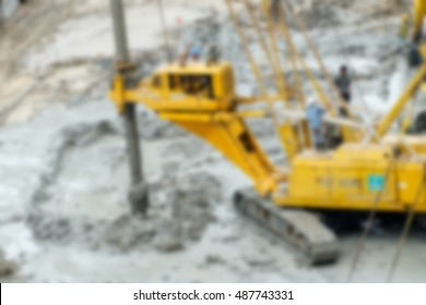Blurred,Drilling rig hole in soil at construction site.