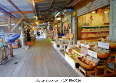 Blurred,Floating Market in Thailand