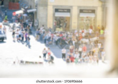 Blurry abstract outdoor backgroud, people or tourist travelling summer season in Italy ,europe .Travel and holiday background concept.