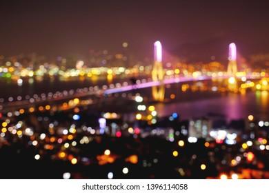 Blurry background of Busan habor bridge at Busan Korea