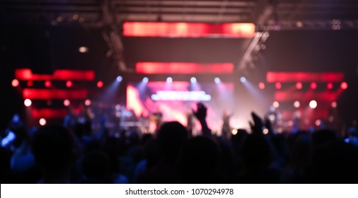 Blurry Background, Christian Worship Festival, Concert, People worshiping, Hands Up, LED Wall, Crowd