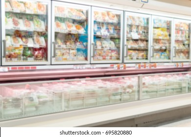 Blurry Background of Frozen food department in supermarket.