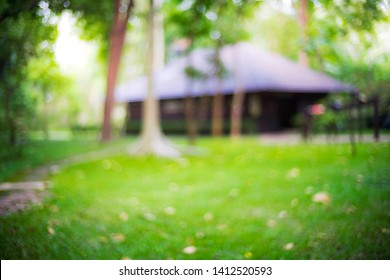 blurry background of house and green garden.