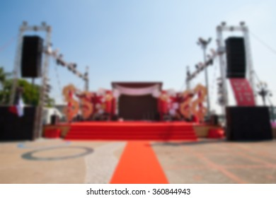 blurry background of  outdoor stage for Musical