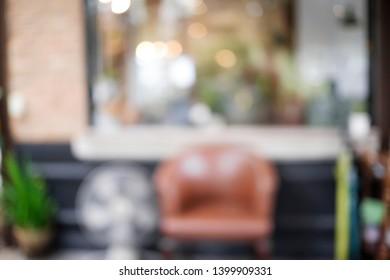 blurry background of restaurant vintage tone.