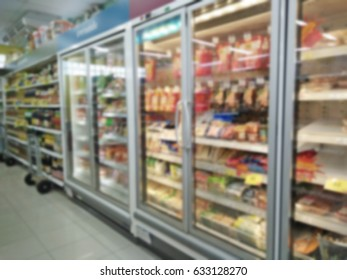 blurry background supermarket food and beverage in refrigerator