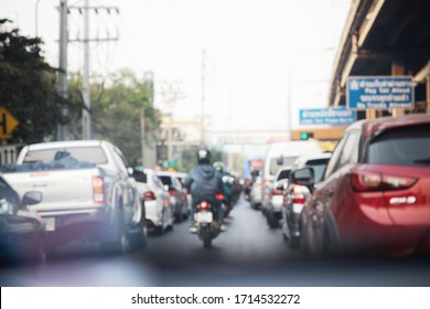 Blurry background of terrible traffic jam in city