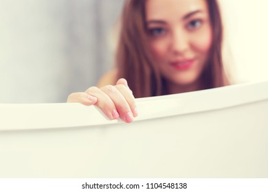Blurry Beautiful young woman portrait in bathroom relax and  preparation take a shower.