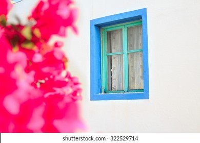 Blurry bougainvillea flowers near blue window of traditional Greek house