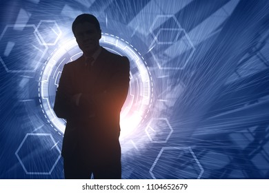 Blurry businessman silhouette on digital background. Future and innovation concept. Double exposure