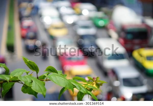 blurry of Car traffic jam in Bangkok