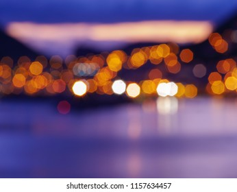 Blurry city lights during sunset. Lense flairs. flat lay
