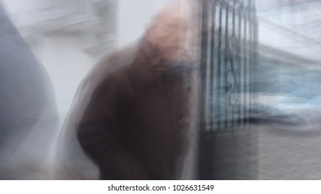 blurry city man face silhouette