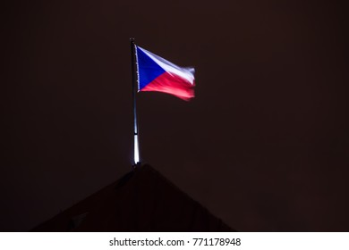 Blurry czech flag in night