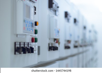 Blurry of  Electrical switchgear, Industrial electrical switch panel of power plant.Electrical power switchgear room, Power control station module