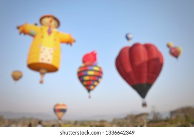 Blurry focus on colorful balloon in internationals balloon festival.