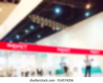 Blurry focus scene of queue line stand.