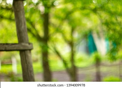 Blurry gardenind background. Wooden hedge leaning against a tree. Bright garden wallpaper. Shiny day out of focus. Hollidays in the village. Summertime backdrop for poster. Summer noon.