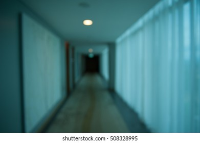 Blurry horror Hallway in building for background