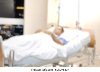 Blurry hospital room interior for background. Blurred image of Patient in hospital for background. Anxiety about the treatment of the patient.