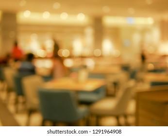 Blurry hotel breakfast room lighting bokeh interior design