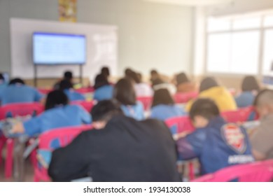 Blurry image, atmosphere in the classroom of Thai primary education