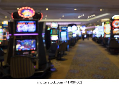 Blurry image with Bokeh from slot machine in casino