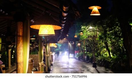 Blurry image of lamp s at Kampung Daun, Lembang, Bandung, Indonesia.