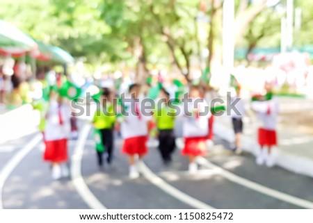 Blurry Image Opening Ceremony Primary School Stock Photo