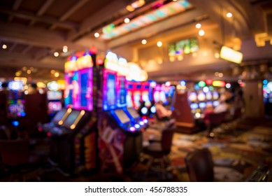 Blurry image of slots machines at the Casino