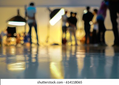 Blurry image in studio working advertising with strobe flash or studio flash.
