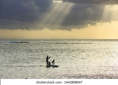 Blurry image.Soft focused sunset scene on coming thunderstorm background. Blurry family silhouettes at sunset on ocean.A father with three children are paddling on two boards.Family surfing.
