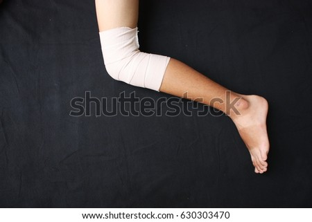 blurry knee splint be plaster cast injured stock photo edit now