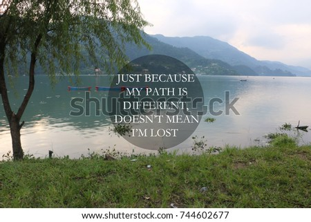 Blurry Lake Inspirational Quote Just Because Stock Photo Edit Now