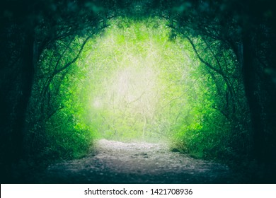 Blurry magical yellow green fairytale forest road.
