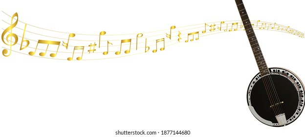 blurry out of focus image of Banjo with musical notes on white background with copy space. Image for music store, music school and Banjo lesson or school