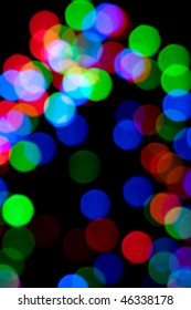 Blurry pattern of colorful decoration lights.