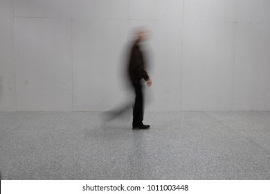 blurry person walking