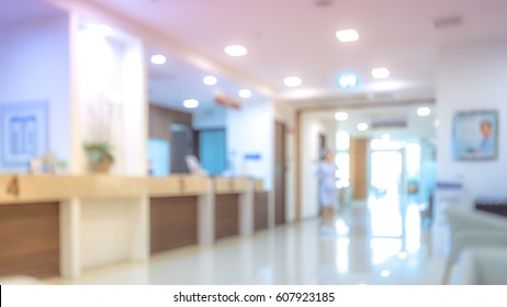 Blurry photo cashier counter in hospital.