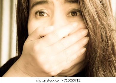 Blurry portrait woman shock,Woman expression,Selective focus