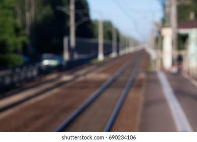 blurry railroad in the sun