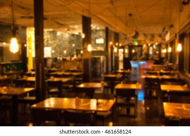 Blurry restaurant interior