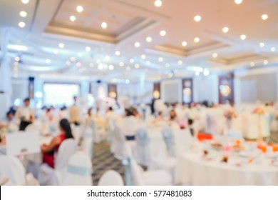 Blurry scene of Chinese round table feast in wedding ceremony