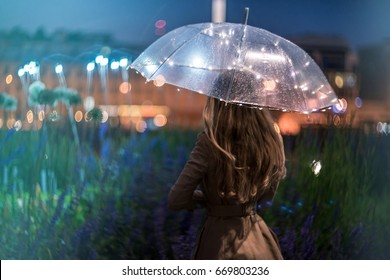 A blurry silhouette of a girl with the transparent umbrella on a city street, rain drops and a lot of lights. Rainy weather in the summer, blurred flowers, lights of Shining umbrella in raindrops