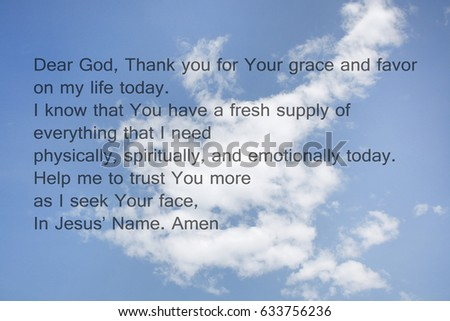 Blurry Sky And Clouds With Prayer Written For Background Wallpaper Spiritually Concept