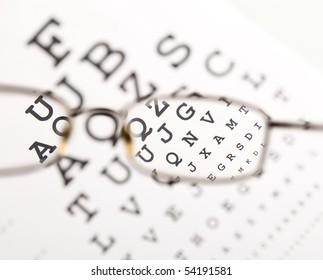 Blurry text clearing up through eyeglass - medical optics concept