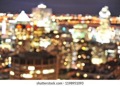 A blurry view of the Montreal skyline taken from Mount Royal