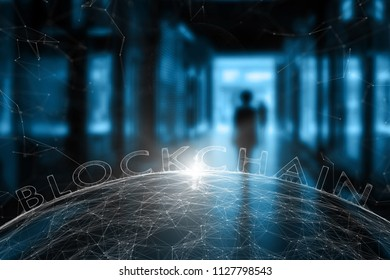 Blurry woman walks through city underpass zone with futuristic blockchain network background. Selective focus used.