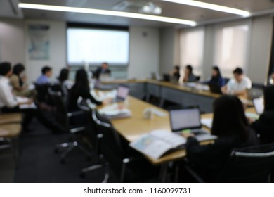 Blury Picture of Busy meeting, Business man is lead meeting of company at meeting room. Presentation on new business development