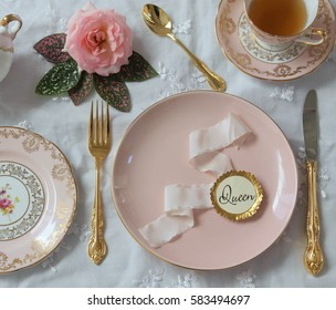 blush pink dinner plate, gold knife and fork, vintage pink tea cup, pink rose place setting wedding, silk ribbon